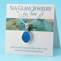 Bright Turquoise Sea Glass Pendant