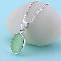 N1036 W UV Green Sea Glass Pendant