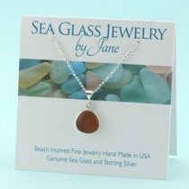 Small Butternut Amber Sea Glass Pendant
