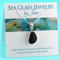 Black Oval Sea Glass Pendant