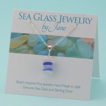 Blue & White Sea Glass Stack Pendant