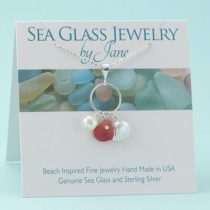 Amberina Sea Glass & Shell Charm Pendant