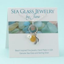 Bright Yellow Sea Glass & Music Note Charm Pendant