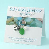 Lime Green Sea Glass & Crab Charm Pendant