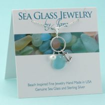 Aqua Sea Glass & Anchor Charm Pendant