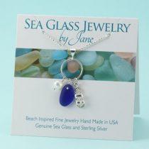 Cobalt Blue Sea Glass & Sandal Charm Pendant