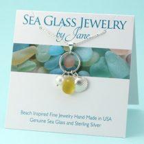 Bright Yellow Sea Glass & Shell Charm Pendant