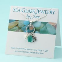 Bright Teal Sea Glass & Mermaid Charm Pendant