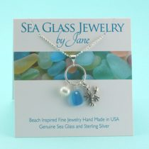 Blue & White Multi Sea Glass with Lobster Charm Pendant