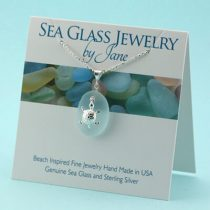 Beautiful Sky Blue Sea Glass Sea Turtle Pendant