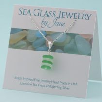 N1052 W Green & White Sea Glass Stack Pendant