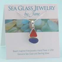 N1054 W Red & Blue Sea Glass Sailboat Pendant