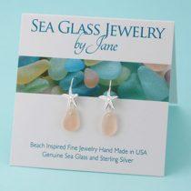Pretty Pink Sea Glass Starfish Earrings