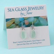 Sea Foam Green Sea Glass Starfish Earrings