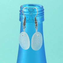 Frosty White Sea Glass Earrings