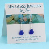 Cobalt Blue Sea Glass Starfish Earrings