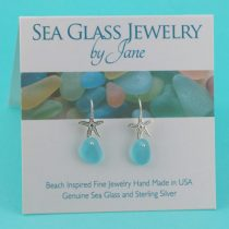 Deep Aqua Sea Glass Starfish Earrings