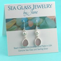 Lavender Sea Glass Earrings with Pearls