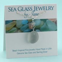 Elegant Antique Gray Sea Glass Pendant