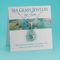 Aqua Sea Glass Starfish Pendant