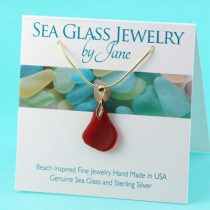 Gold Lover Red Sea Glass Pendant