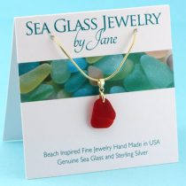 Cherry Red Sea Glass Pendant with Gold