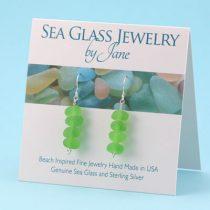 Lime Green Sea Glass Stack Earrings