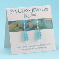 Aqua Sea Glass Stack Earrings