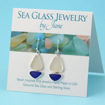 Blue & White Sea Glass Sailboat Earrings