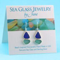 Aqua & Blue Sea Glass Sailboat Earrings