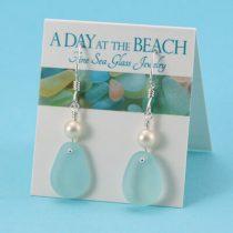 Sky Blue Sea Glass Earrings with Pearls
