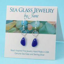 Deep Blue Sea Glass Earrings