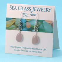 Large Lavender Sea Glass Earrings