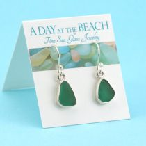 Small Emerald Green Sea Glass Earrings