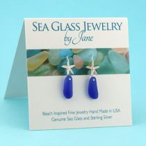 Blue Sea Glass Starfish Earrings