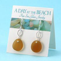 Sweet Butternut Amber Sea Glass Earrings