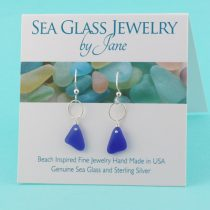 Deep Blue Sea Glass Earrings