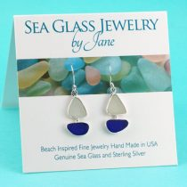 Blue & White Sea Glass Sailboat Earrings