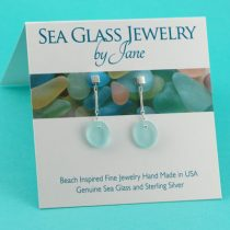 Serene Sky Blue Sea Glass Earrings
