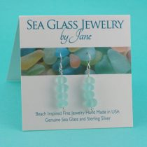 Aqua Sea Glass Stack Earrings