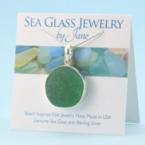Giant Emerald Green Sea Glassl Pendant