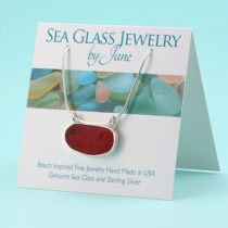 Gorgeous Cherry Red Sea Glass Pendant with Pattern