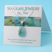 Small Aqua Sea Glass Starfish Pendant