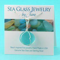 Antique Aqua Sea Glass Insulator Pendant