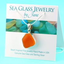 Ultra-Rare-Bright-Orange-Sea-Glass-Pendant