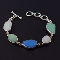 Rare Jadeite Azurite Milk Glass Sea Glass Bracelet