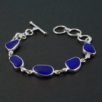 Beautiful Cobalt Blue Sea Glass Bracelet