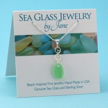 Mint Green Sea Glass Infinity Pendant