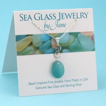 Deep Aqua Sea Glass Infinity Pendant