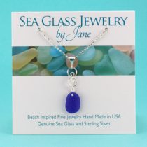 N1106 Cute Cobalt Blue Sea Glass Infinity Pendant